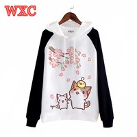 Japanese Kawaii Hoodies Cute Cartoon Cat Sweatshirt Neko Atsume Hoodies