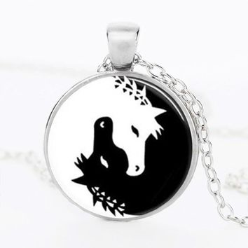 Horse Jewelry Necklace Yin Yang Black and White Animals