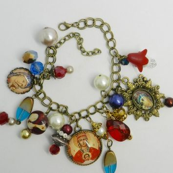Religious Bracelet Orthodox Icon Bracelet Greek Orthodox  Icon Jewelry  Theotokos Jewelry