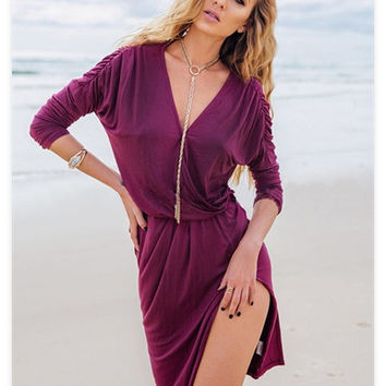 Sexy Deep V Long Sleeve Corset Split One Piece Dress [6343383041]
