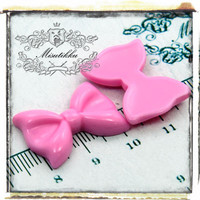1 PC X 28MM Pink Ribbon / Bow Resin Cabochon Flat Back -Acrylic Decoden Scrap booking / DIY Decora Accessories (BW03P)