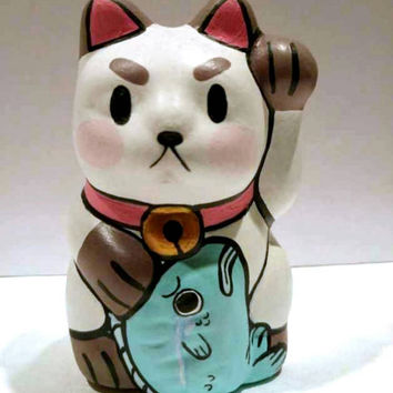 Puppy Cat and Wallace Manekineko Fortune Cat