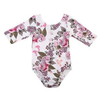 Princess Kids Baby Dance Clothes Girls Floral Romper Back Deep V-neck Jumpsuit Sunsuit Outfits Baby Clothing