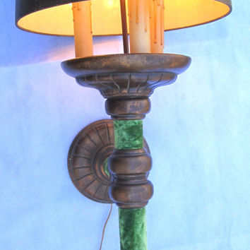 Large Wall Lamp Vintage Wall Sconce with Green Velvet Decor Home Interior Design