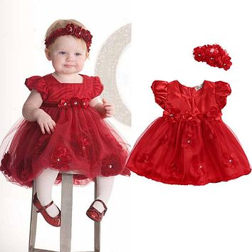 2017 Baby Toddler Girl Clothing Dress bubble puff sleeve Flower Headwear Princess Red Wedding Party Pageant Tulle TUTU Dresses