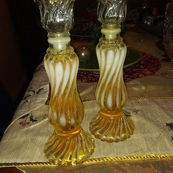 1970's Opalique Frosted Swirled Glass Candle Stick Holders