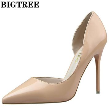 BIGTREE D'Orsay PU Leather 10.5CM Point Toe Spike Heel Nude Women's Pumps Sexy Wedding
