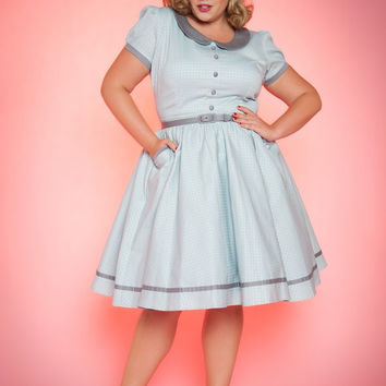 Pinup Couture Plus Size Dee Dee Dress in Grey and Baby Blue Gingham