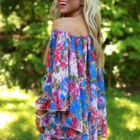 The Chloe Chiffon Top in Blue Floral Confetti