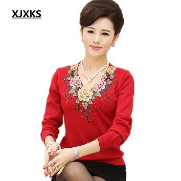 XJXKS new women's sweater 2017 spring basic shirt long-sleeve knitted wool sweaters embroidery mother clothing