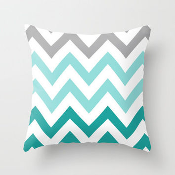 TEAL FADE CHEVRON Throw Pillow by nataliesales | Society6