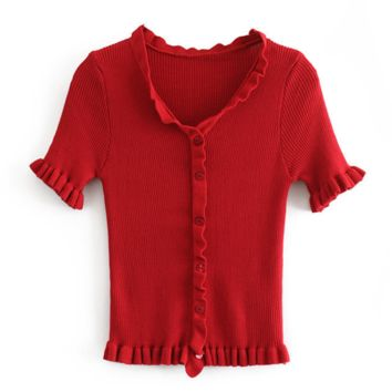 Fashion New Solid Color Short Sleeve Top Women Red