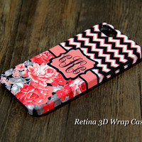 Coral Black Chevron Floral Monogram iPhone 6 Plus 6 5S 5 5C Protective Case #922