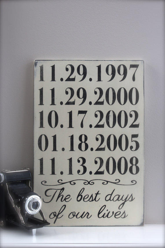 Personalized Important Dates Sign, from InMind4U on Etsy
