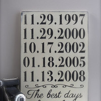 Personalized Important Dates Sign, Anniversary Date, Birth Dates, Family Sign, Wood Wall Art, Wood Sign, Vintage Sign, Typography