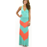 Breezy Way Chevron Striped Maxi Halter Dress Mint