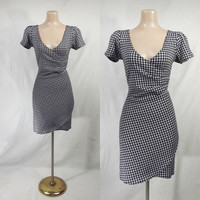 Retro Houndstooth SEXY Faux Wrap Dress WET SEAL L