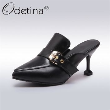 Odetina 2018 New Fashion Pointed Toe Mules For Women Buckle Slip On High Heels Sexy Shoes Female Strange Style Mules Big Size 42