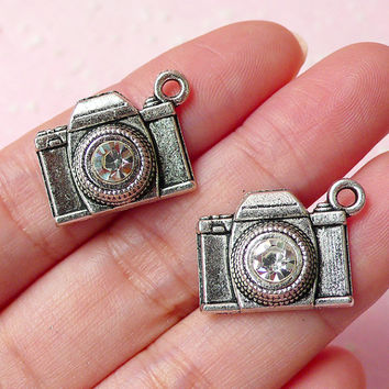 3D Camera Charms w/ Clear Rhinestones (2pcs) (21mm x 16mm / Tibetan Silver) Pendant Bracelet Earrings Zipper Pulls Bookmarks Keychain CHM263