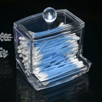 Clear Acrylic Q-tip Holder Box Empty Cotton Swabs Stick Storage Cosmetic Makeup Case (Size: 9cm by 9.5cm by 8cm) = 1706034372
