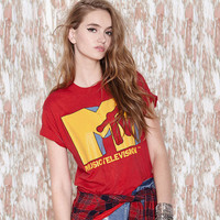 Casual MTV Printed Red Loose Shirt