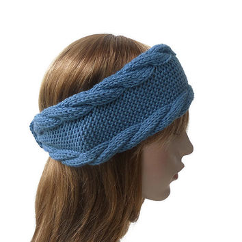 Hand Knit Headband in Blue Denim,Handmade Women's Turban,Cable Knit Ear Warmer,Wool Winter Head Wrap,Wide Hair Band,Knitted Headwear for Her