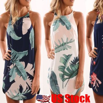 Women Boho Floral Print Short Mini Dress Summer Sleeveless Sling Beach Dress USA