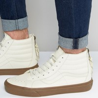 Vans Sk8-Hi Zip Leather Trainers In White V004KYJSH