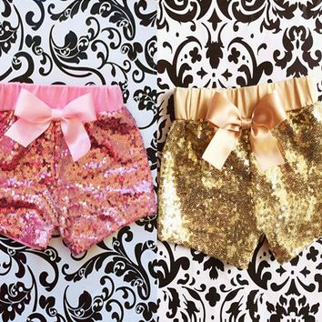 Toddler Baby Girls Clothes Bowknot Sparkle Party Shorts Sequin Pants Summer 1-3Y