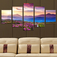 5 Piece(No Frame) The Sunset and The mountain Modern Canvas Picture Art HD Print Painting