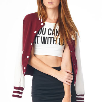 White You Can't Sit With Us Sleeveless Crop Top