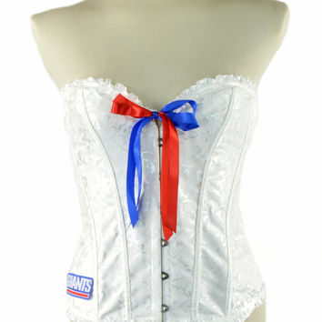 NEW Style 2015 ~ New York Giants White Black Lace Up Corset Waist Trainer Bustier Women