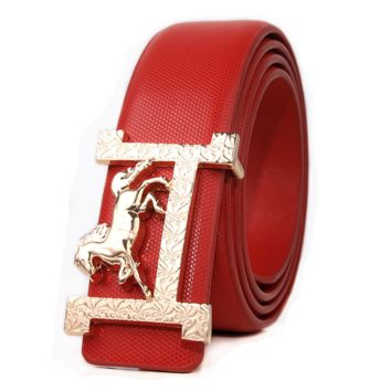 Hermes New fashion H horse buckle couple belt Red