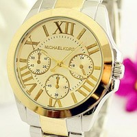 MK Ladies Men Trending Fashion Quartz Watches Wrist Watch F-Fushida-8899 Silver + Gold Watchband + Gold Case + Gold Dial