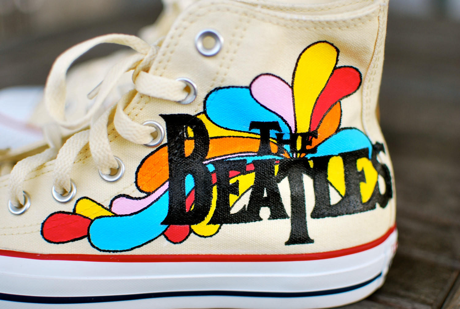 Hand Painted Yellow Submarine Beatles Hi Top White Converse Chuck Taylor  All Star Snea 5031671f61