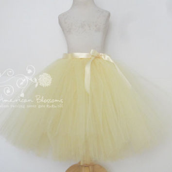 Yellow Bridesmaid Tulle Skirt Tea Length Adult  Light Pale Yellow Long Tutu Teen Bridesmaid Skirt Ivory Ribbon Bow Wedding American Blossoms
