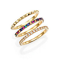 Elizabeth and James - Delgado Multicolor Sapphire, White Topaz & Studded Stacking Ring Set - Saks Fifth Avenue Mobile