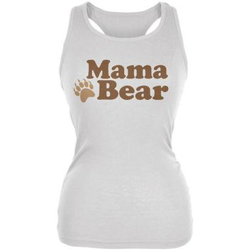LMFCY8 Mothers Day - Mama Bear White Juniors Soft Tank Top
