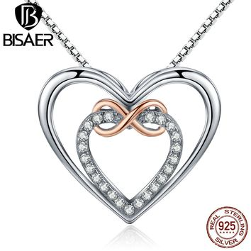 BISAER Authentic 925 Sterling Silver infinity Love You, Heart to Heart Pendants & Necklaces Jewelry Engagement collar ECN121