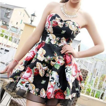 Black Floral Printed Retro Mini Dress