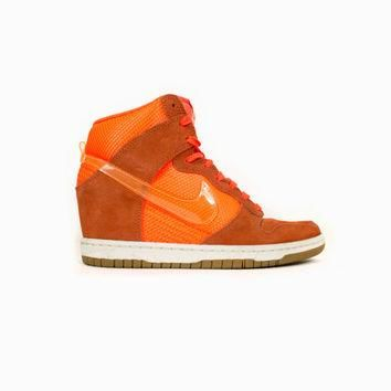NIKE Dunk Sky Hi Wedge Heel Mesh Total Crimson/Bright Mango - 579763-800 - neon orange