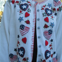 Tacky 4th of July Sweater, Tacky Sweater, Ugly Sweater, 4th of July Sweater, Heart Sweater, Flag Sweater, Knit Sweater