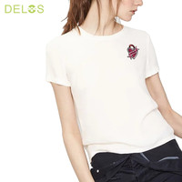 DELOS 2016 New Summer Fashion Embroidered Heart Lovers Women Top Short-sleeve T shirt Cute Sweet Style White tshirts Plus Size