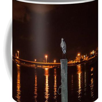 Blue Heron Night - Mug
