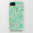 Jade Green Paisley iPhone Case by Janet Broxon