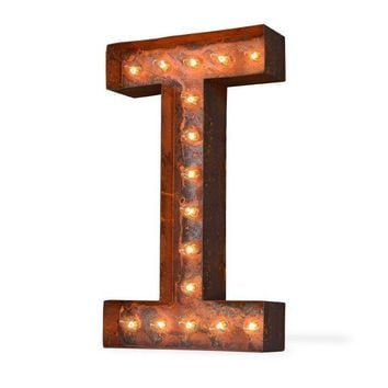 "24"" Letter I Lighted Vintage Marquee Letters (Modern Font/Rustic)"