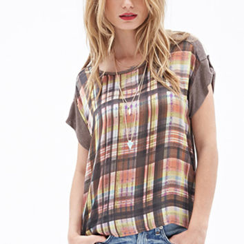 LOVE 21 Contrast Plaid Top Cocoa/Coral