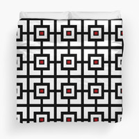 Black White And Red Square Tiled by KCavender