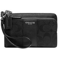 COACH LEGACY DOUBLE ZIP WRISTLET IN SIGNATURE FABRIC