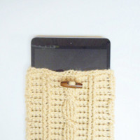 Cable Stitch iPad Mini or e-Reader Cozy in Beige, ready to ship.